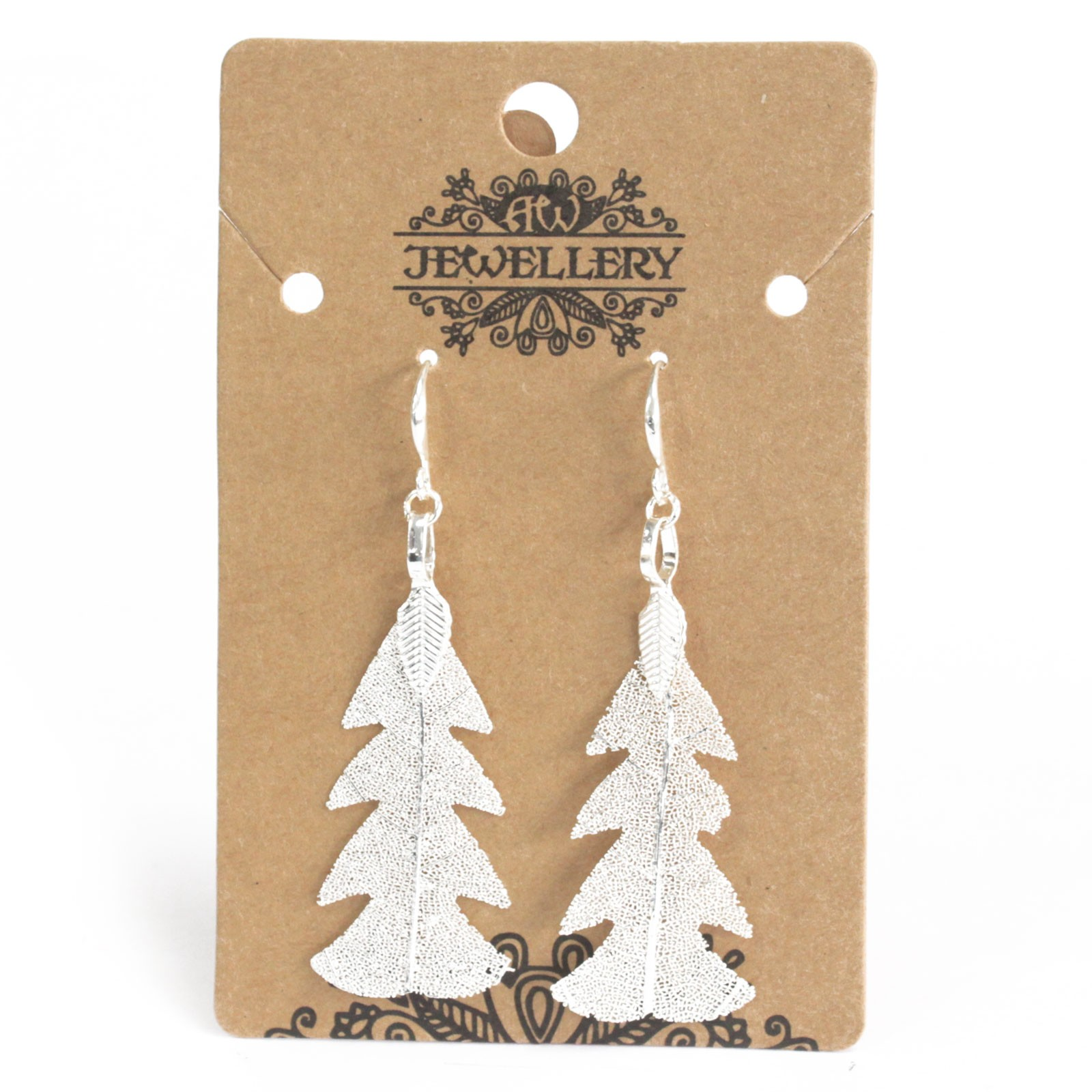 Earrings - Festive Fir Leaf - Silver