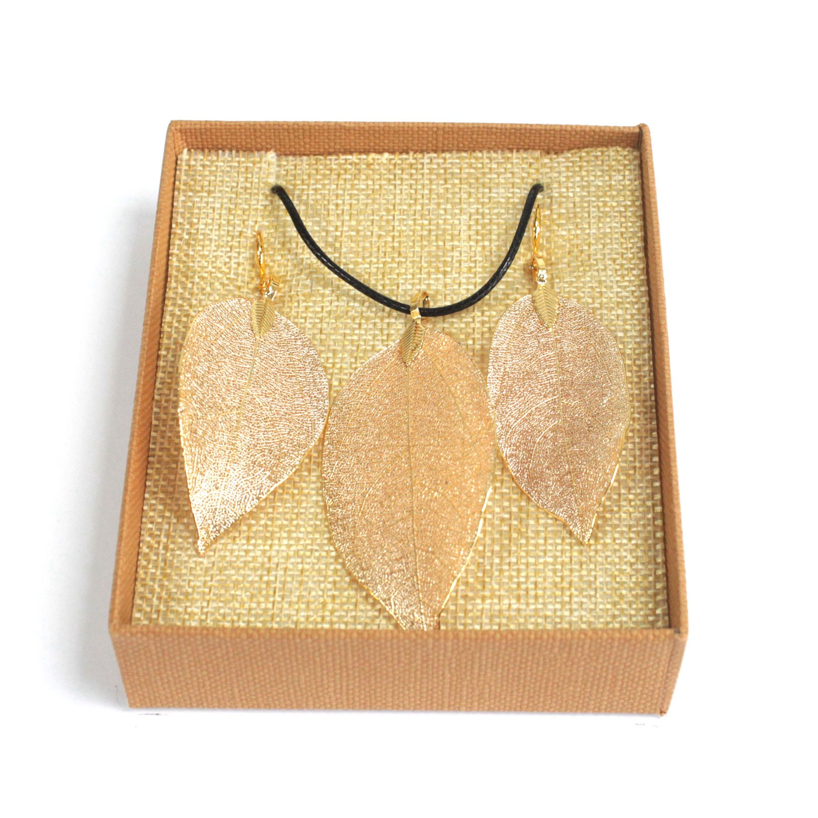 Necklace & Earring Set - Bravery Leaf - Gold