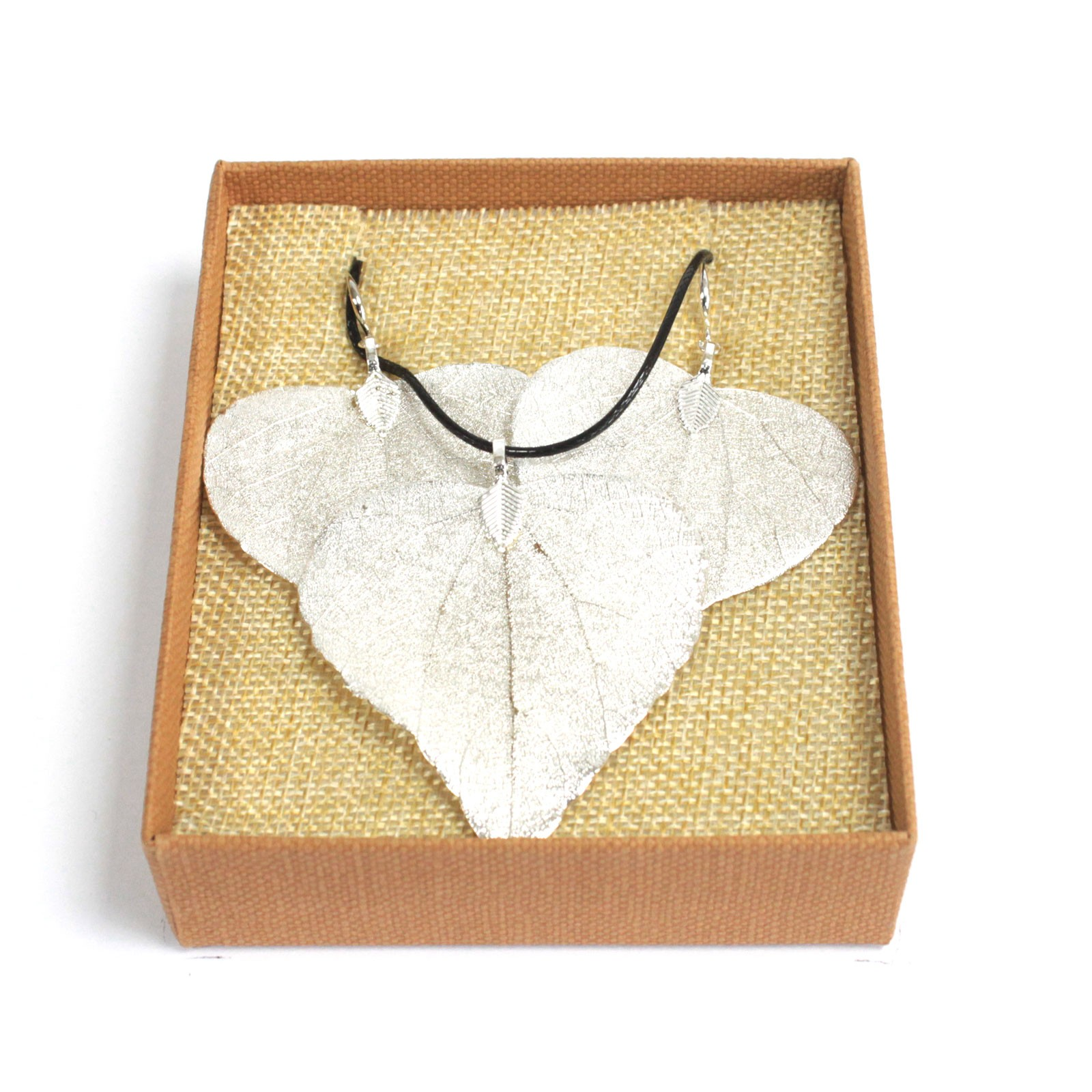 Necklace & Earring Set - Heart Leaf - Silver