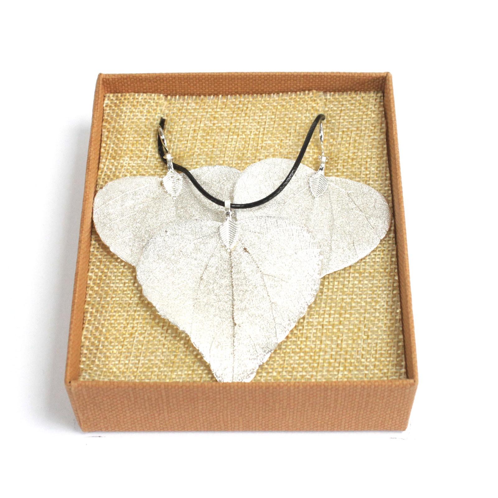 Necklace & Earring Set - Heart Leaf - Silver