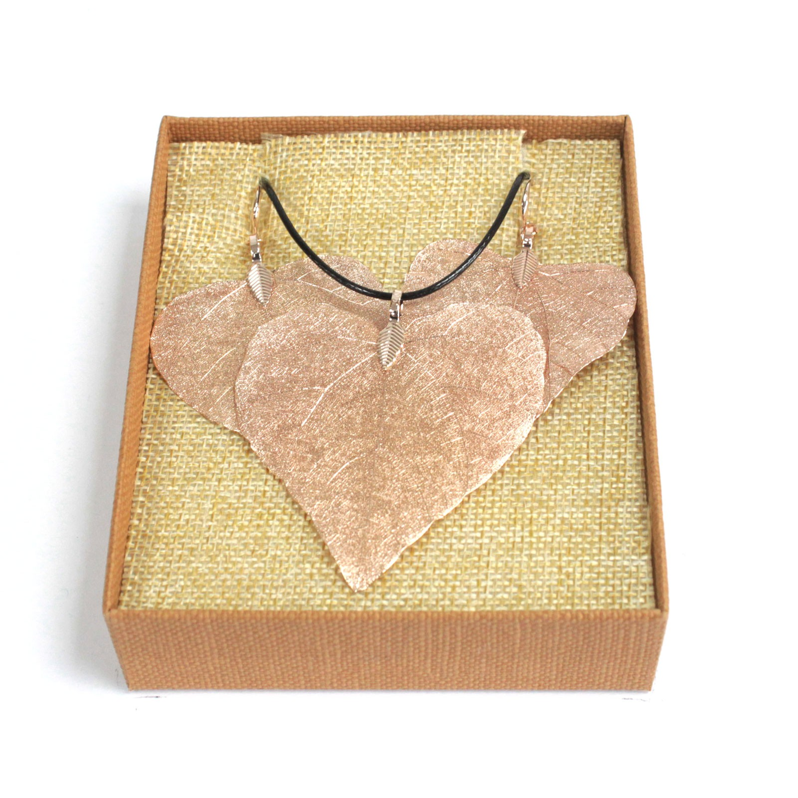 Necklace & Earring Set - Heart Leaf - Pink Gold