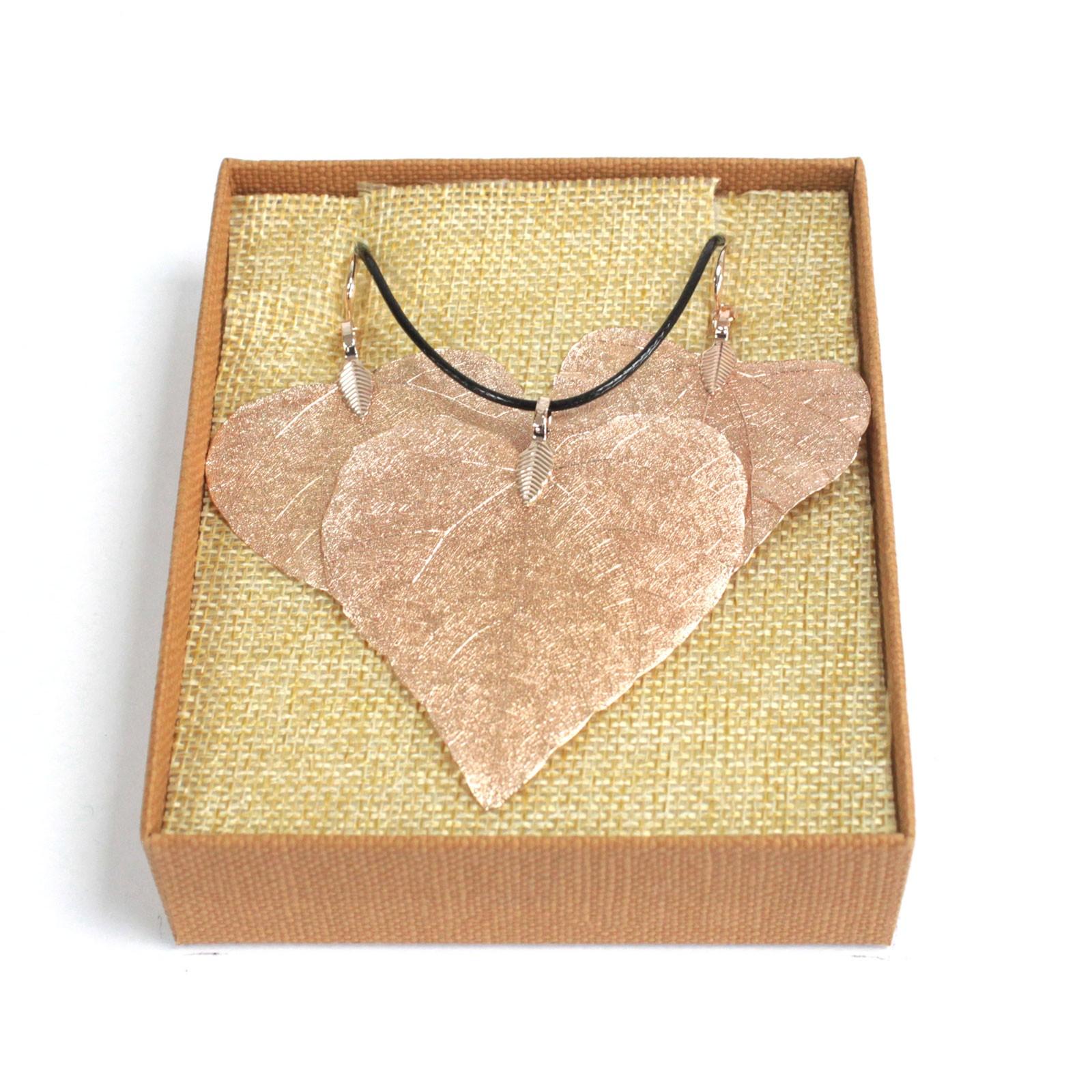 Necklace & Earring Set - Heart Leaf - Pink Gold