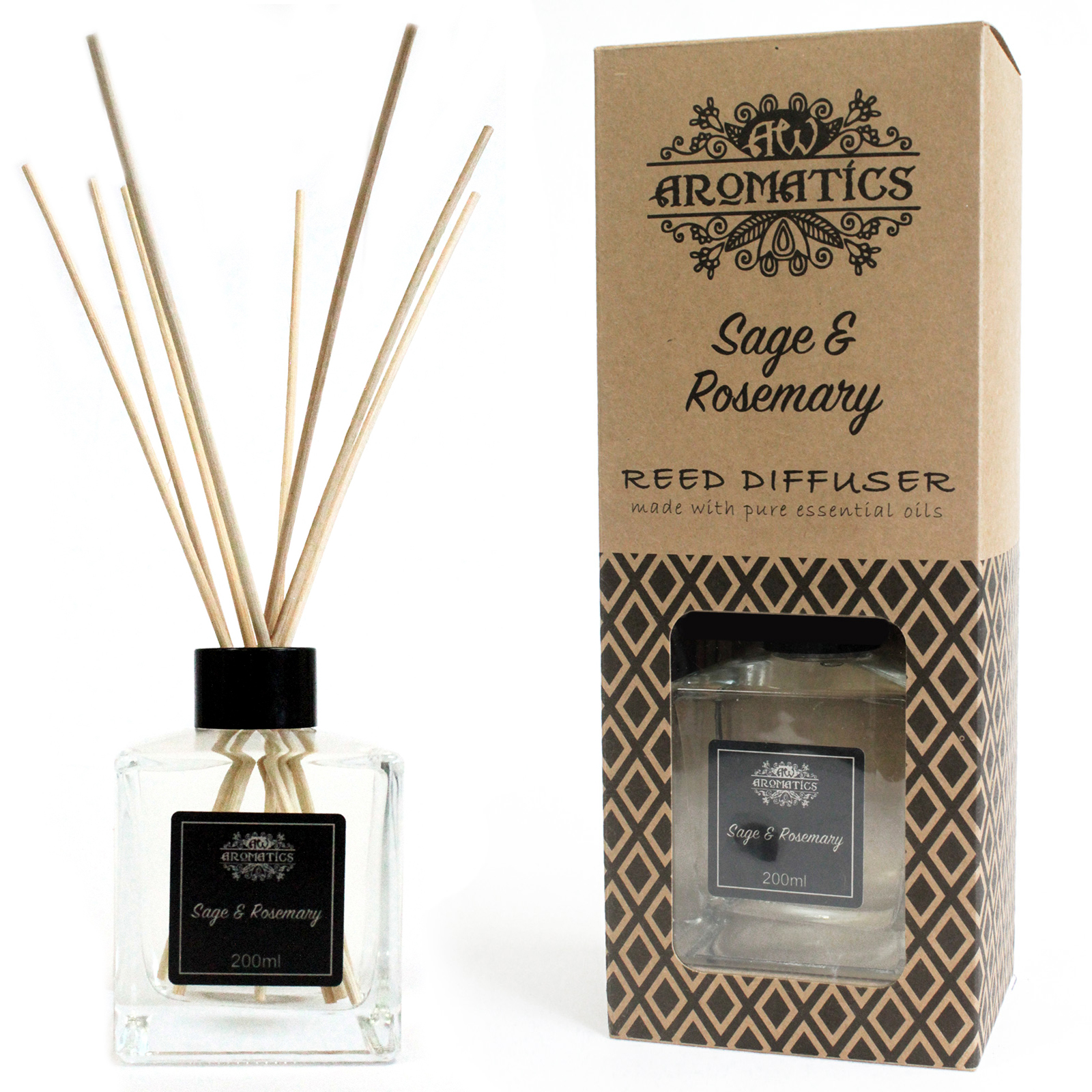200ml Sage & Rosemary Essential Oil Reed Diffuser
