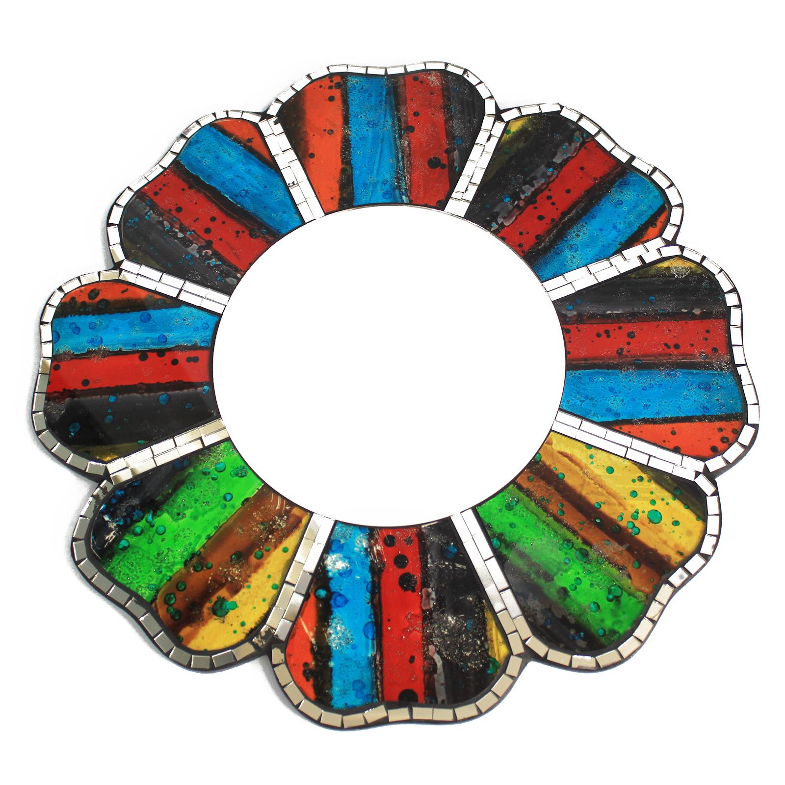 2x Four Colours Mosaic Mirror - 40cm