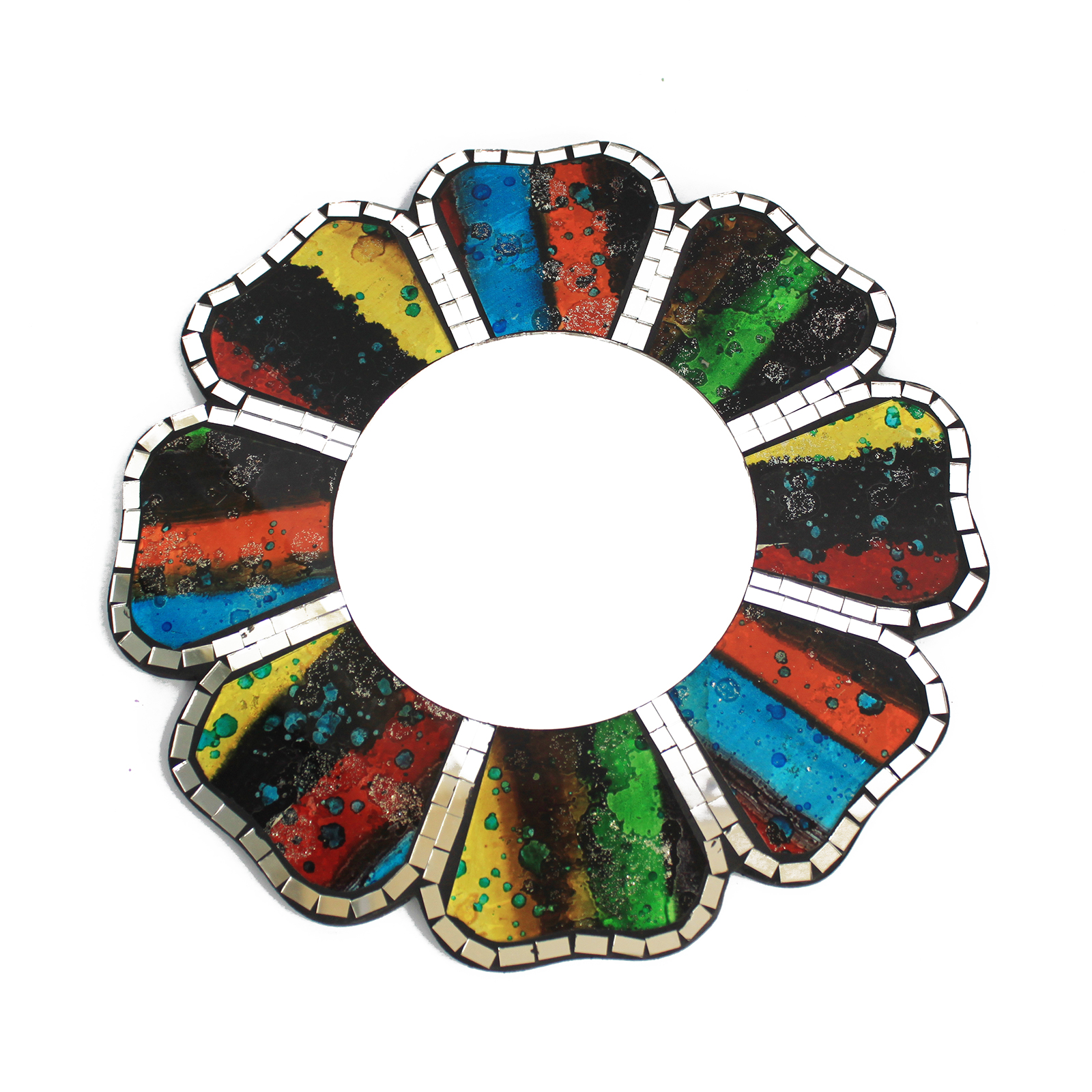 2x Four Colours Mosaic Mirror - 30cm