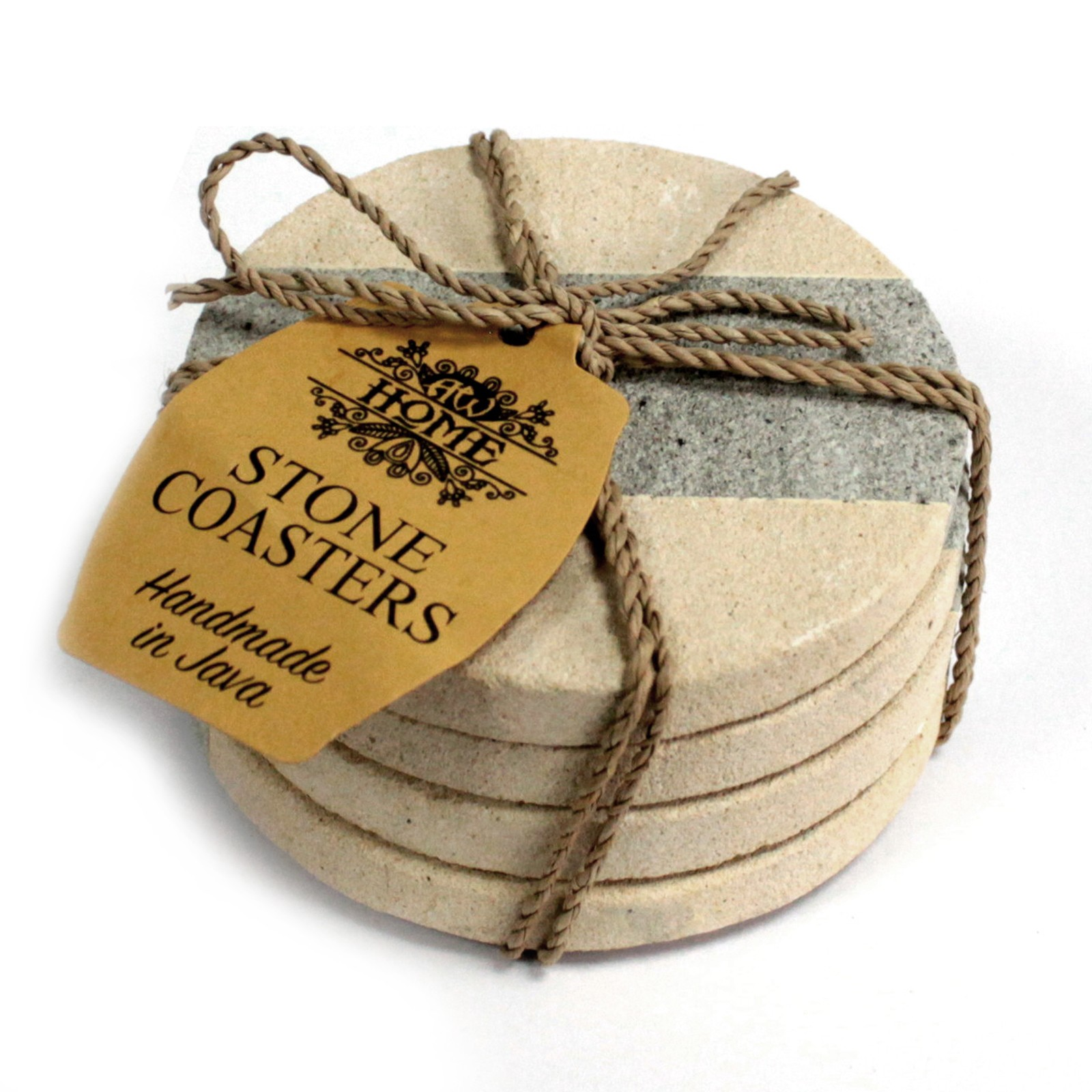 Set of 4 Stone Coasters - Round - Stripe 9cm
