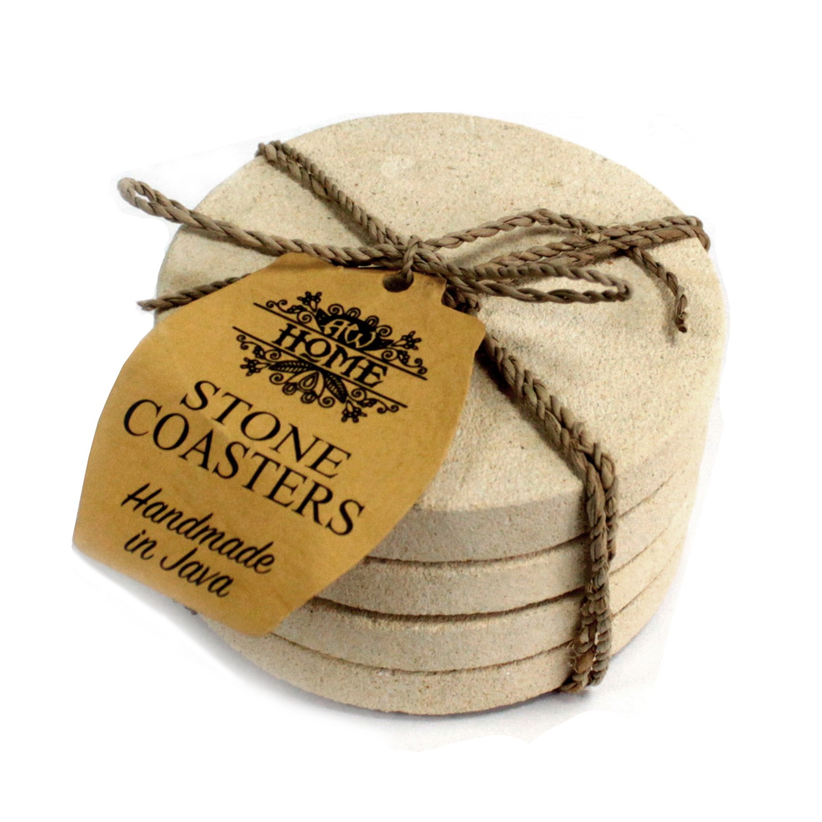 Set of 4 Stone Coasters - Round - Simple Sandstone 9cm