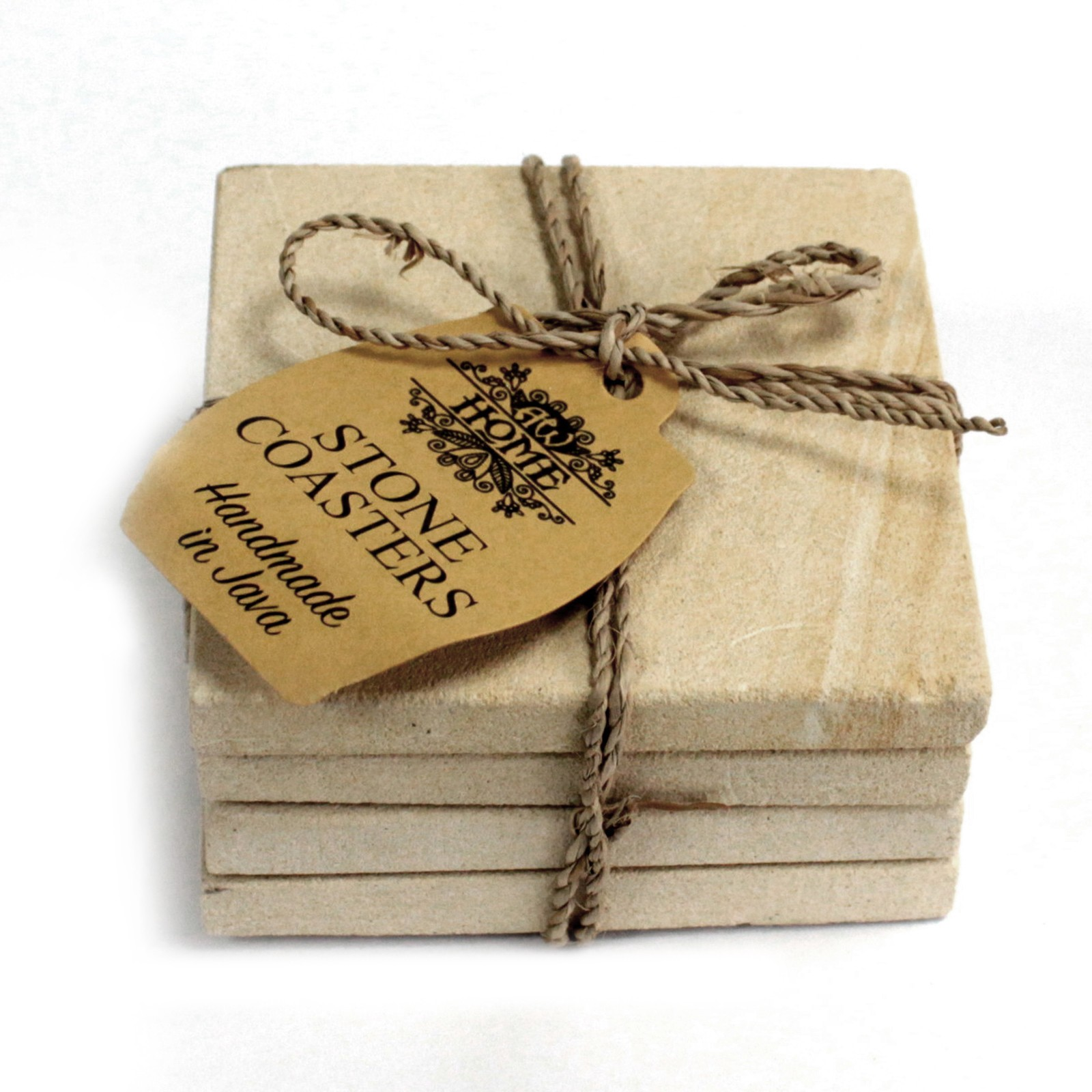 Set of 4 Stone Coasters - Square - Simple Sandstone 9cm