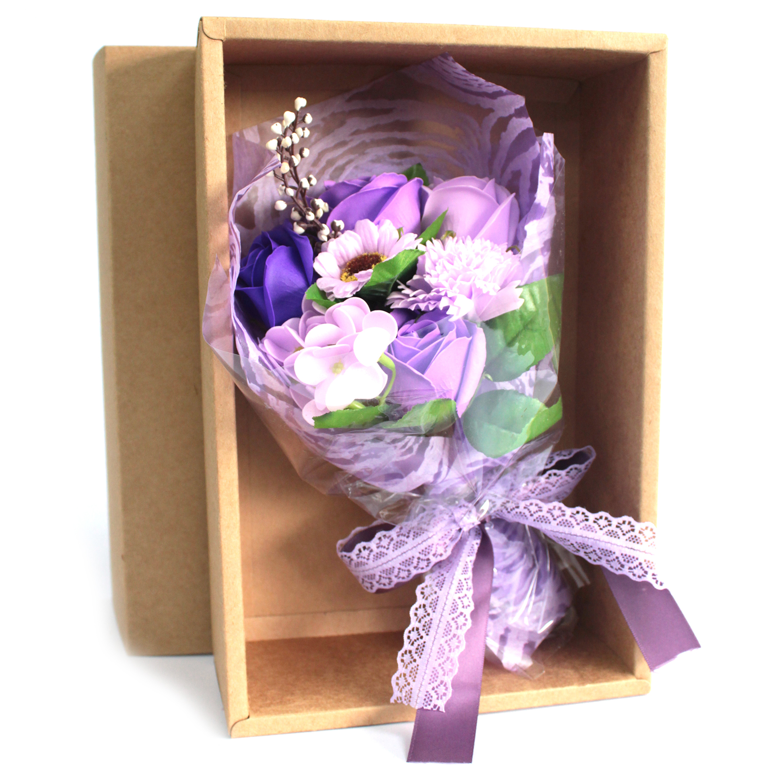 Boxed Hand Soap Flower Bouquet - Purple