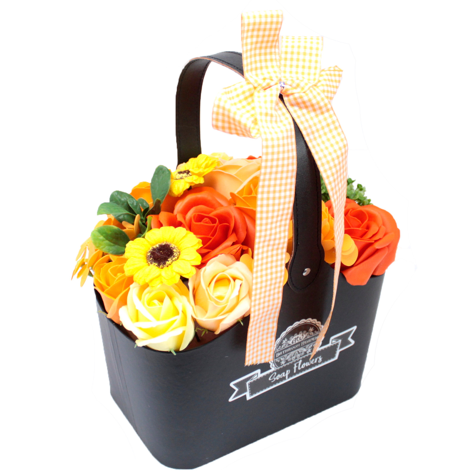 Basket Soap Flower Bouquet - Orange
