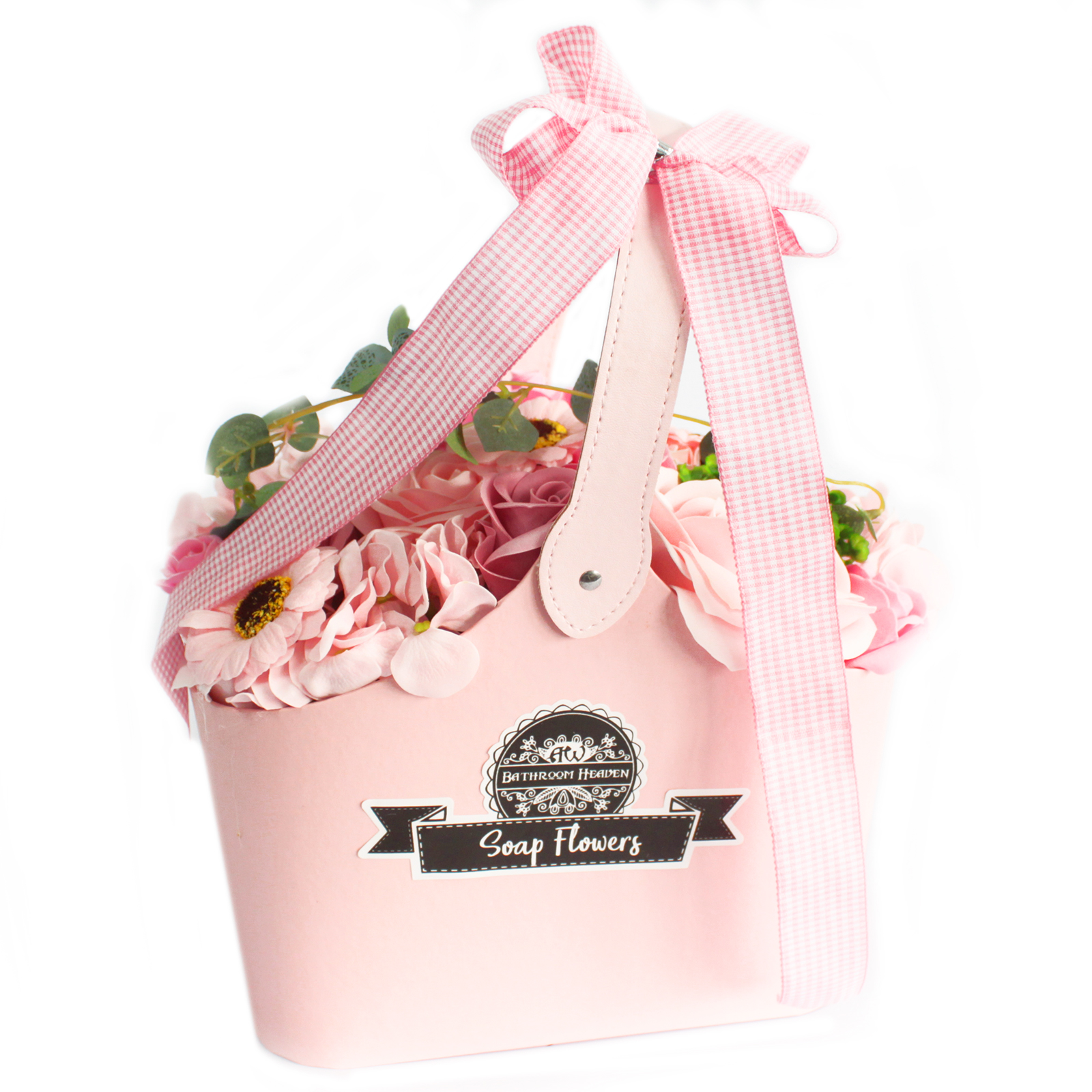 Basket Soap Flower Bouquet - Pink