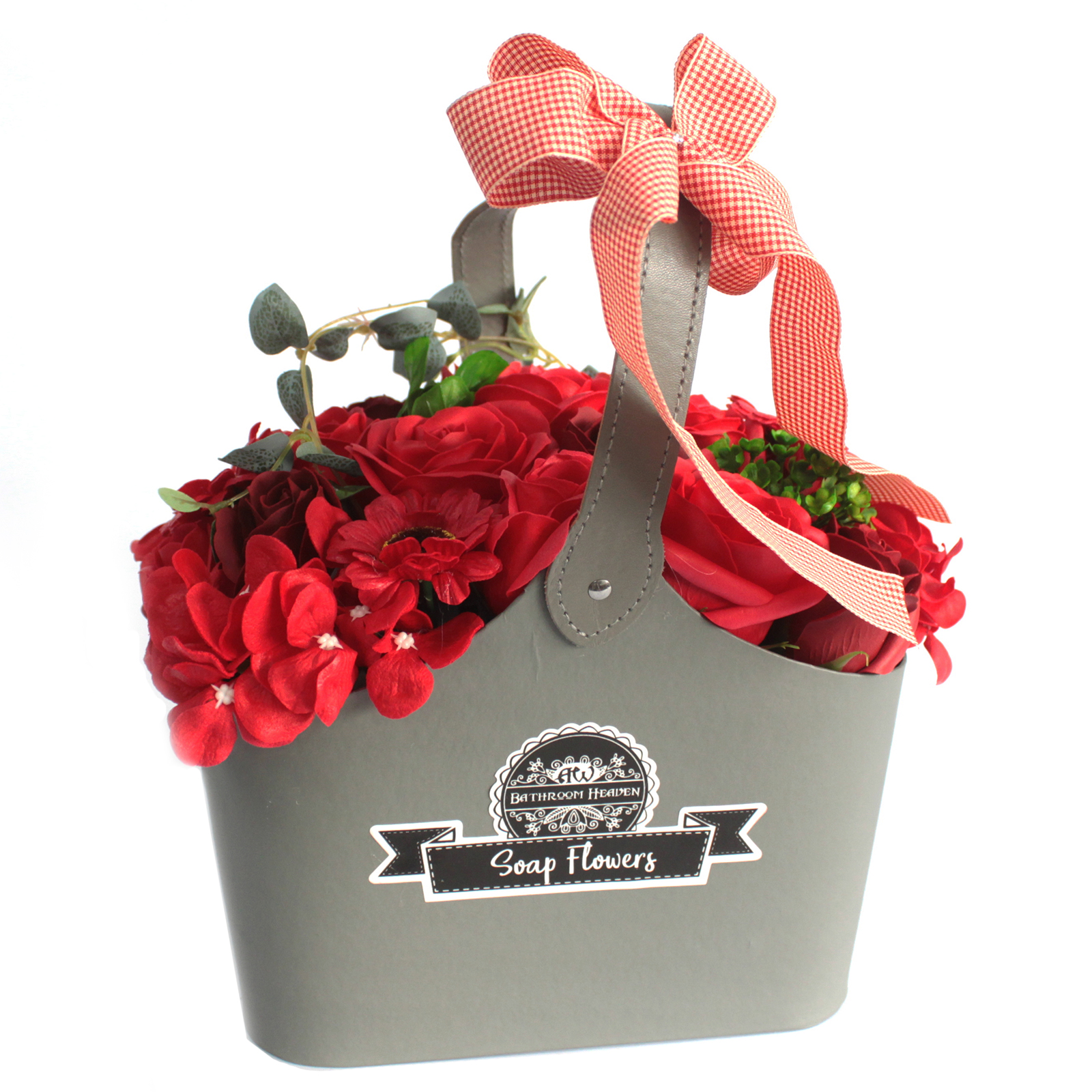 Basket Soap Flower Bouquet - Red