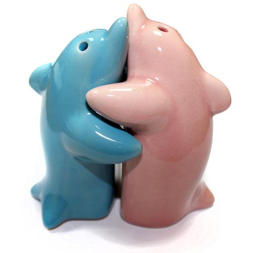 Salt & Pepper - Hugging Dolphins Pink & Blue