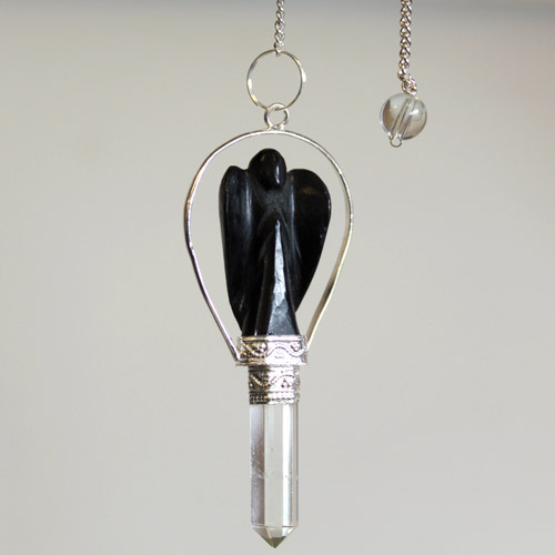 Angel Pendulum with Ring- Black Agate