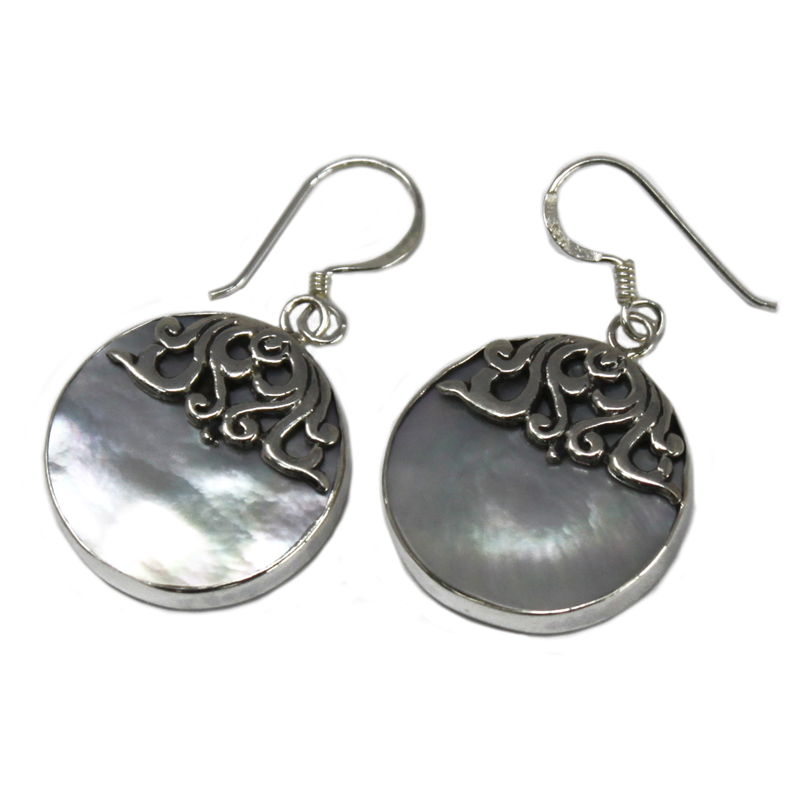Shell & Silver Earrings - Classic Disc