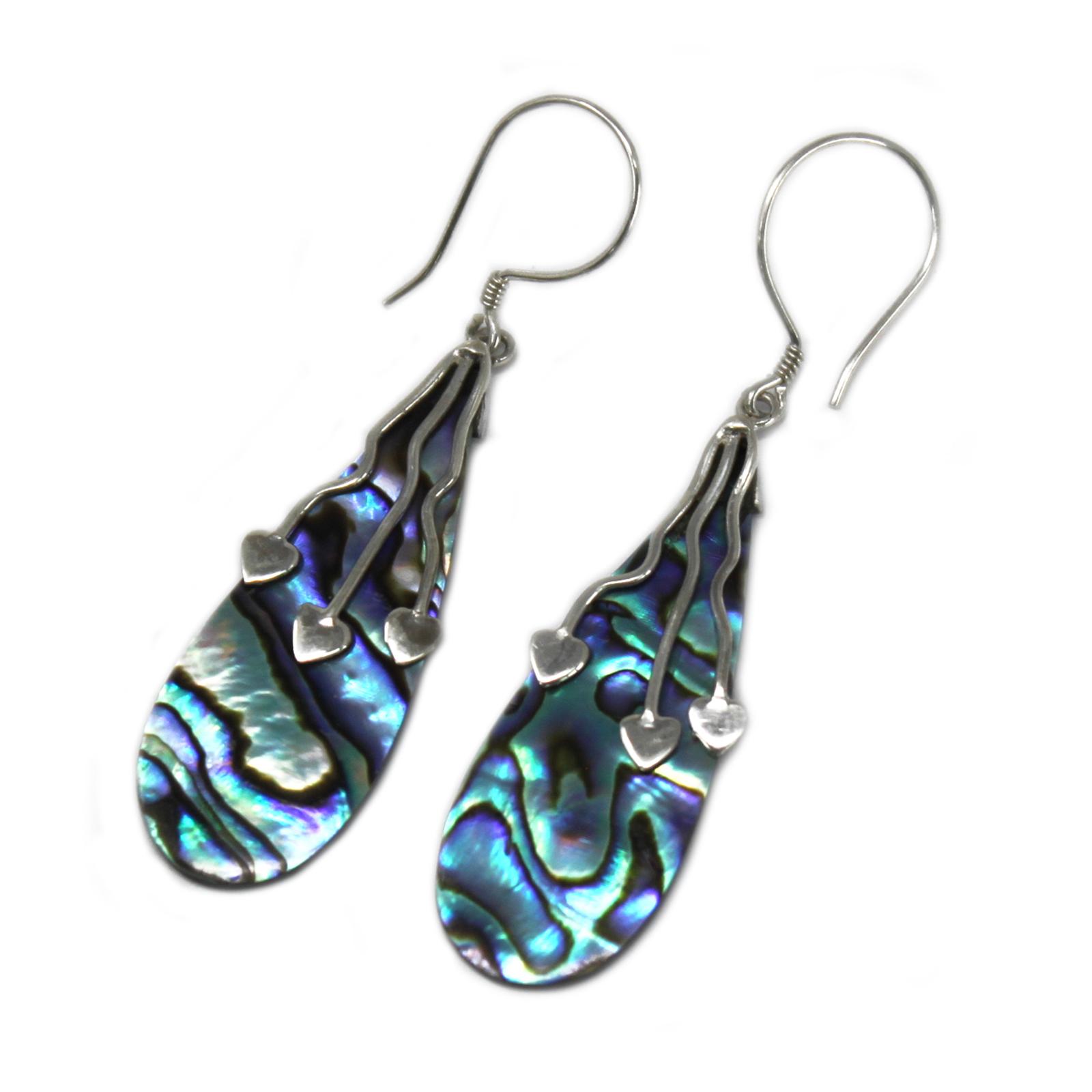 Shell & Silver Earrings - Three Hearts - Abalone