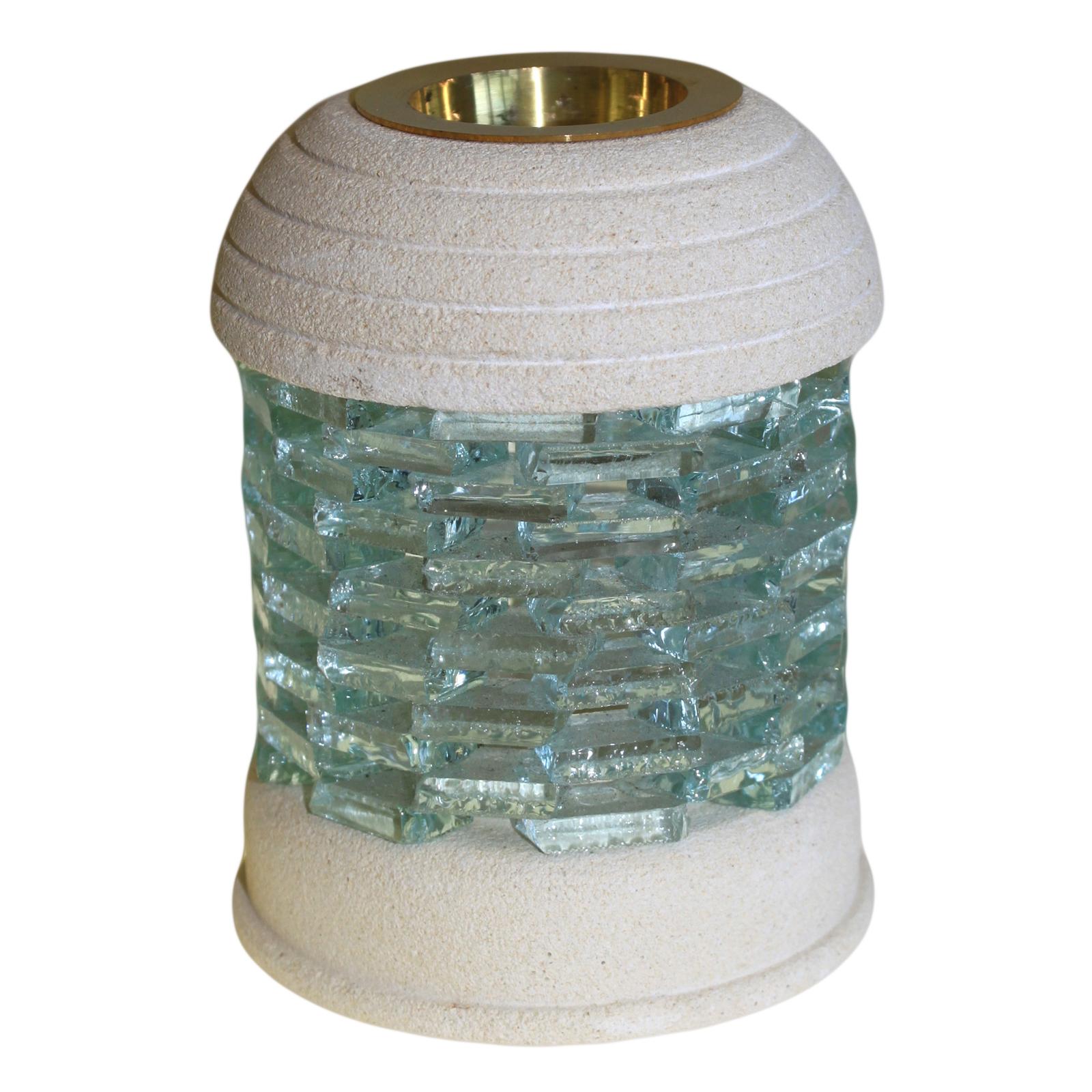 Stone Oil Burner - Round Glass Bricks