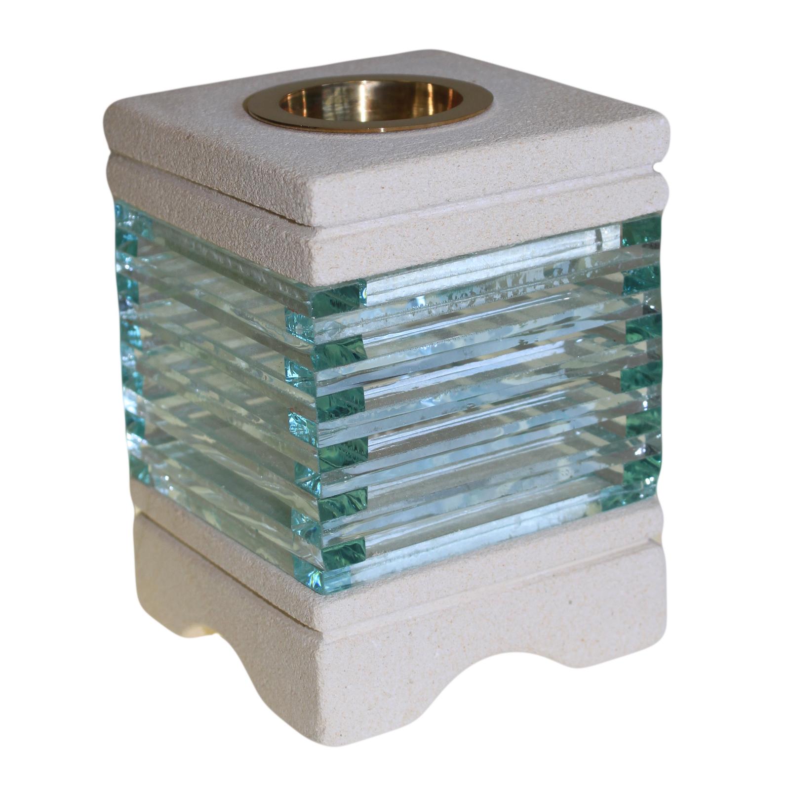 Stone Oil Burner - Square Glass Bricks