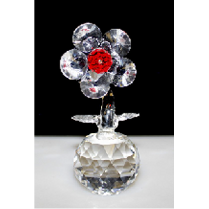 Single Crystal Flower on Crystal (Red)