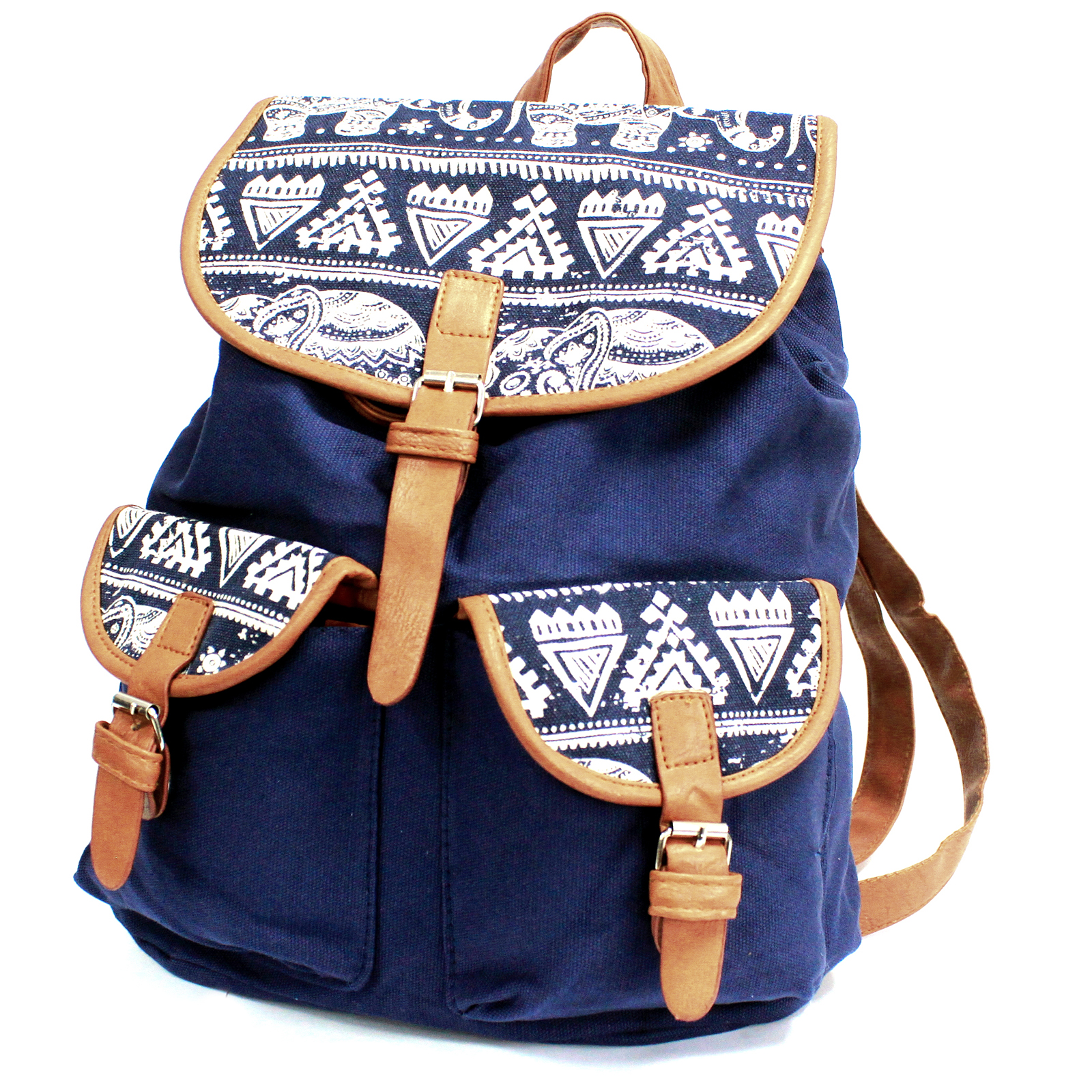 Traveller Backpacks - 2 Pocket Blue Elephant