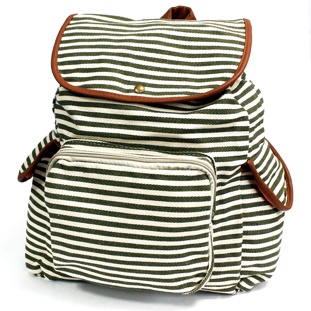 Traveller Backpacks - 3 Pocket Olive Stripe