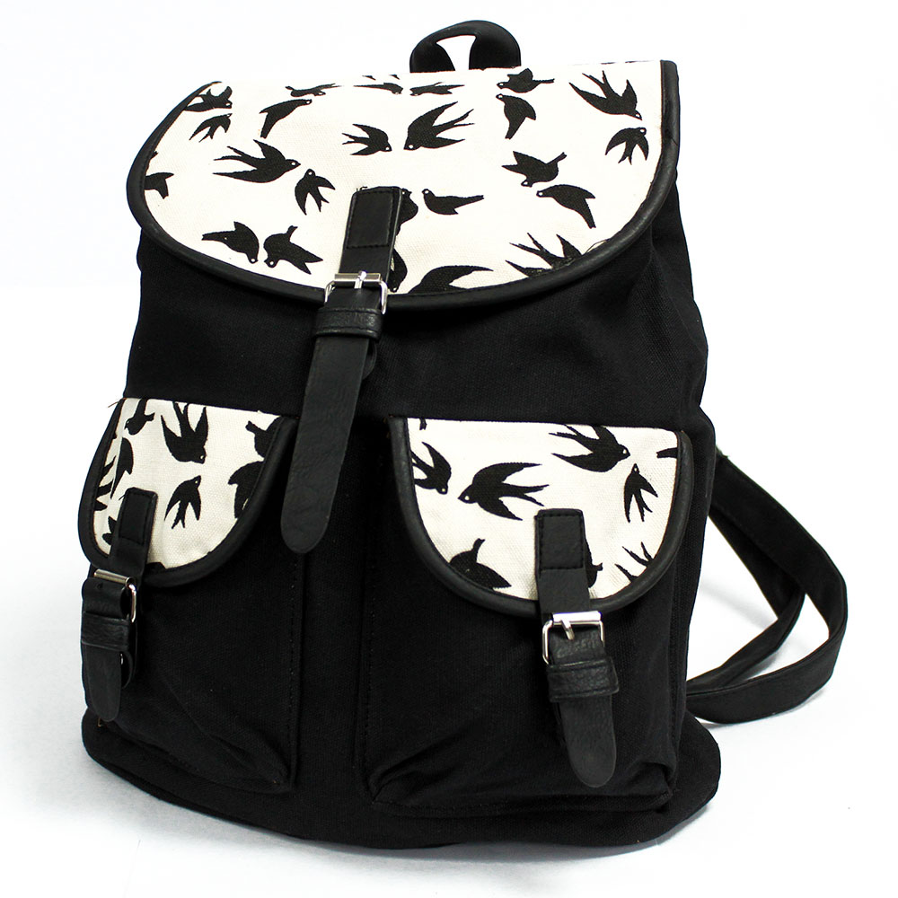 Traveller Backpacks - 2 Pocket Black Swallows