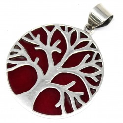 Tree of Life Silver Pendant 30mm - Coral Effect