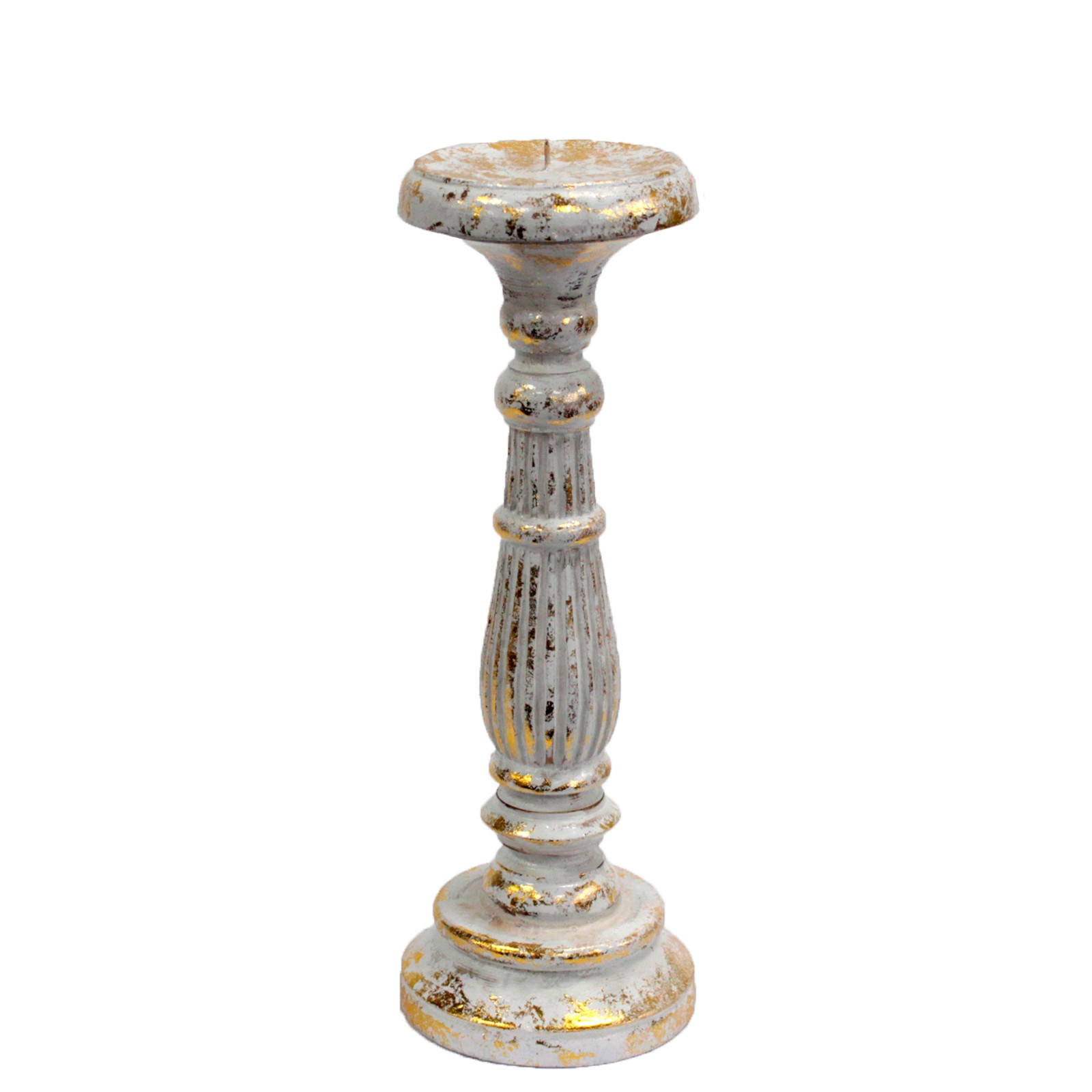 Medium Candle Stand - White & Gold