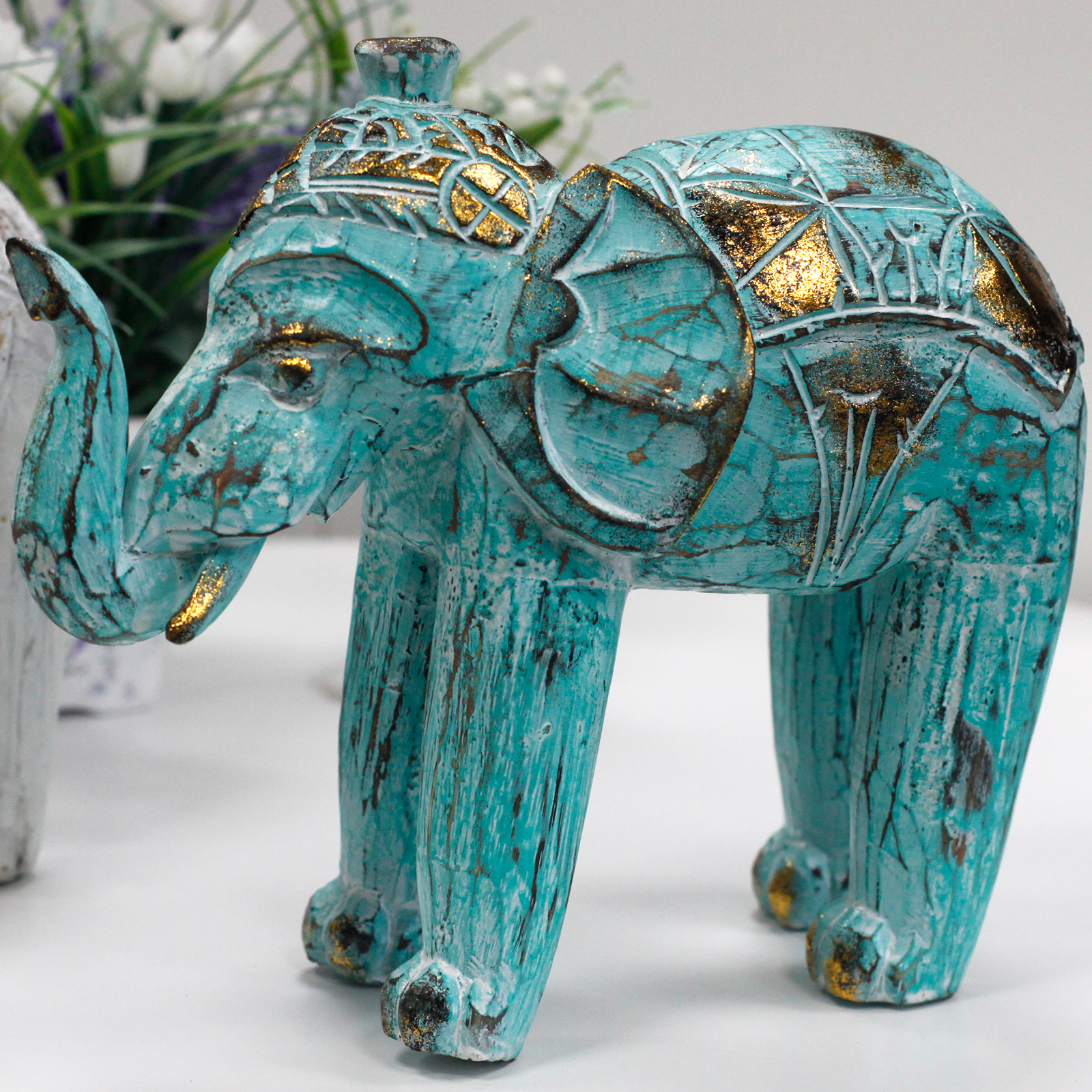Wood Carved Elephant - Turquoise Gold