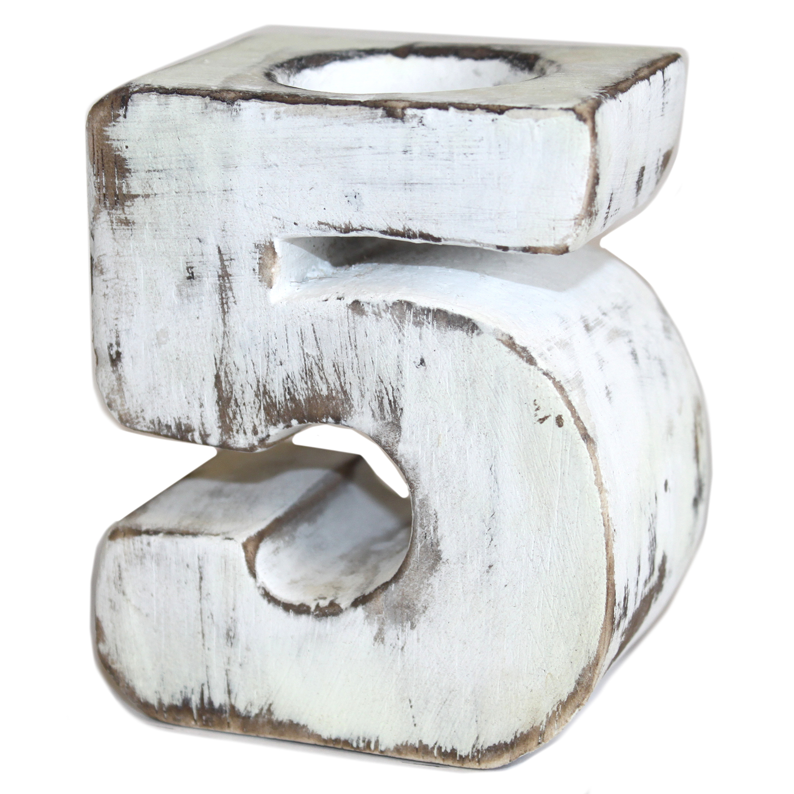 Wooden Birthday Number Candle Holder - No. 5
