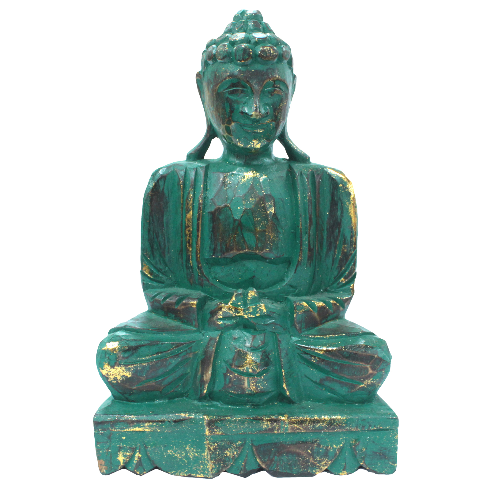 TEAL Wooden -Buddha Statue -30CM