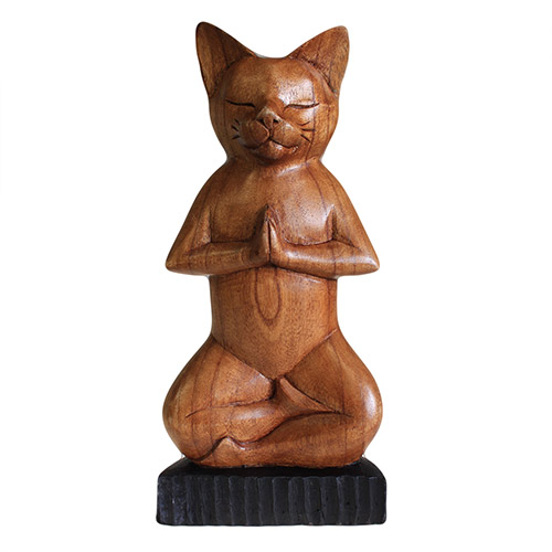 Handcarved Yoga Cats - Lotus