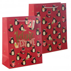 12x Christmas Feline Fine Cat Gift Bag - Large