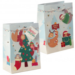 12x Cute Christmas Animals Gift Bag - Medium