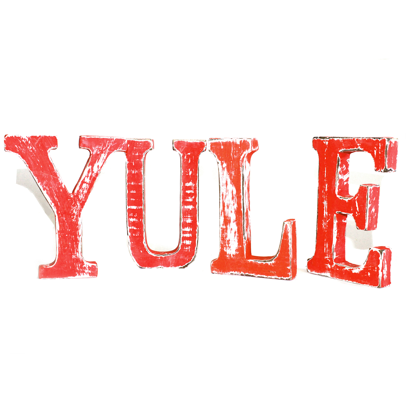 Shabby Chic Letters Red Wash - YULE