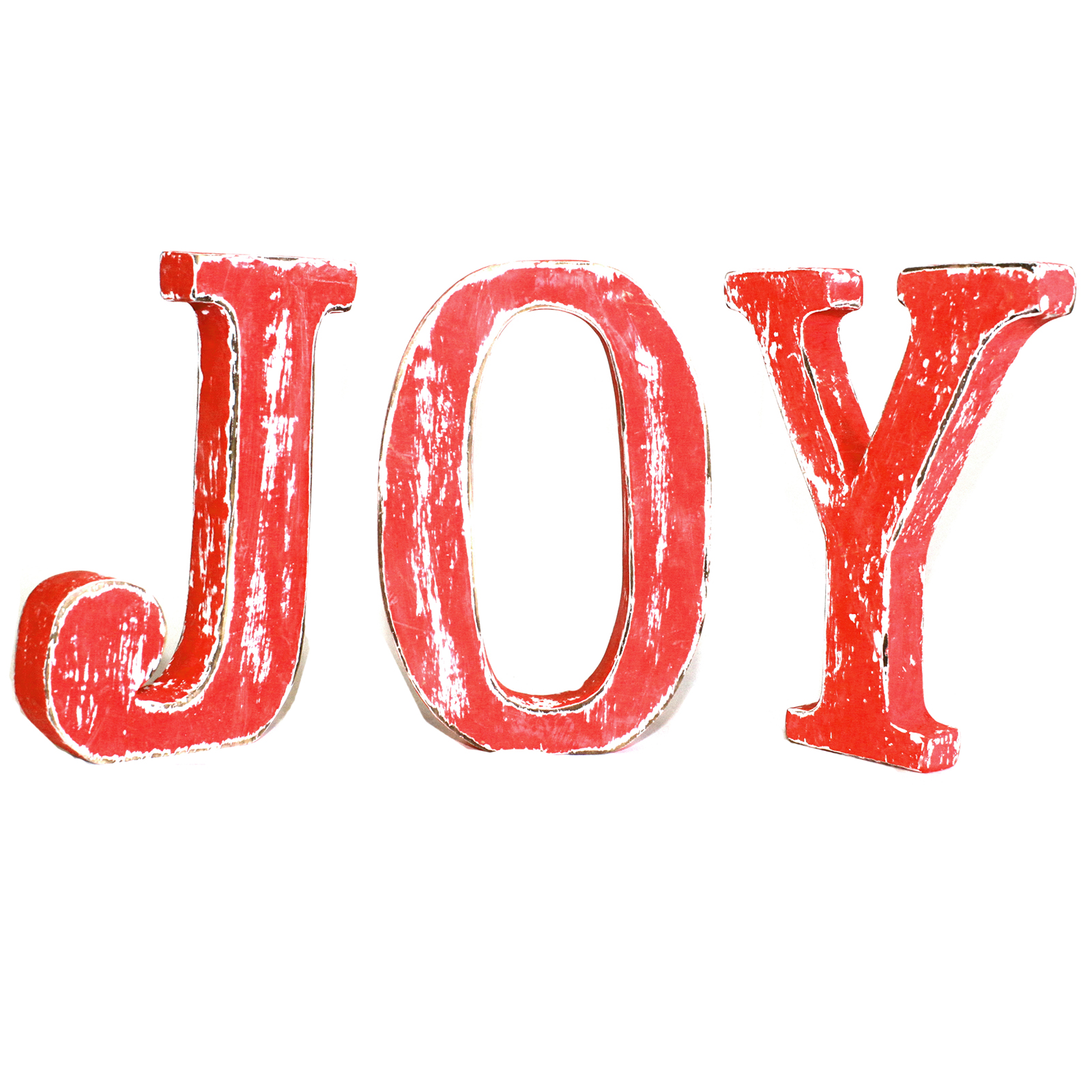 Shabby Chic Letters Red Wash - JOY