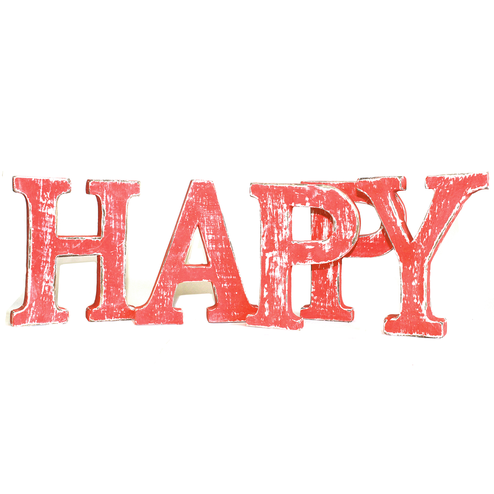 Shabby Chic Letters Red Wash - HAPPY