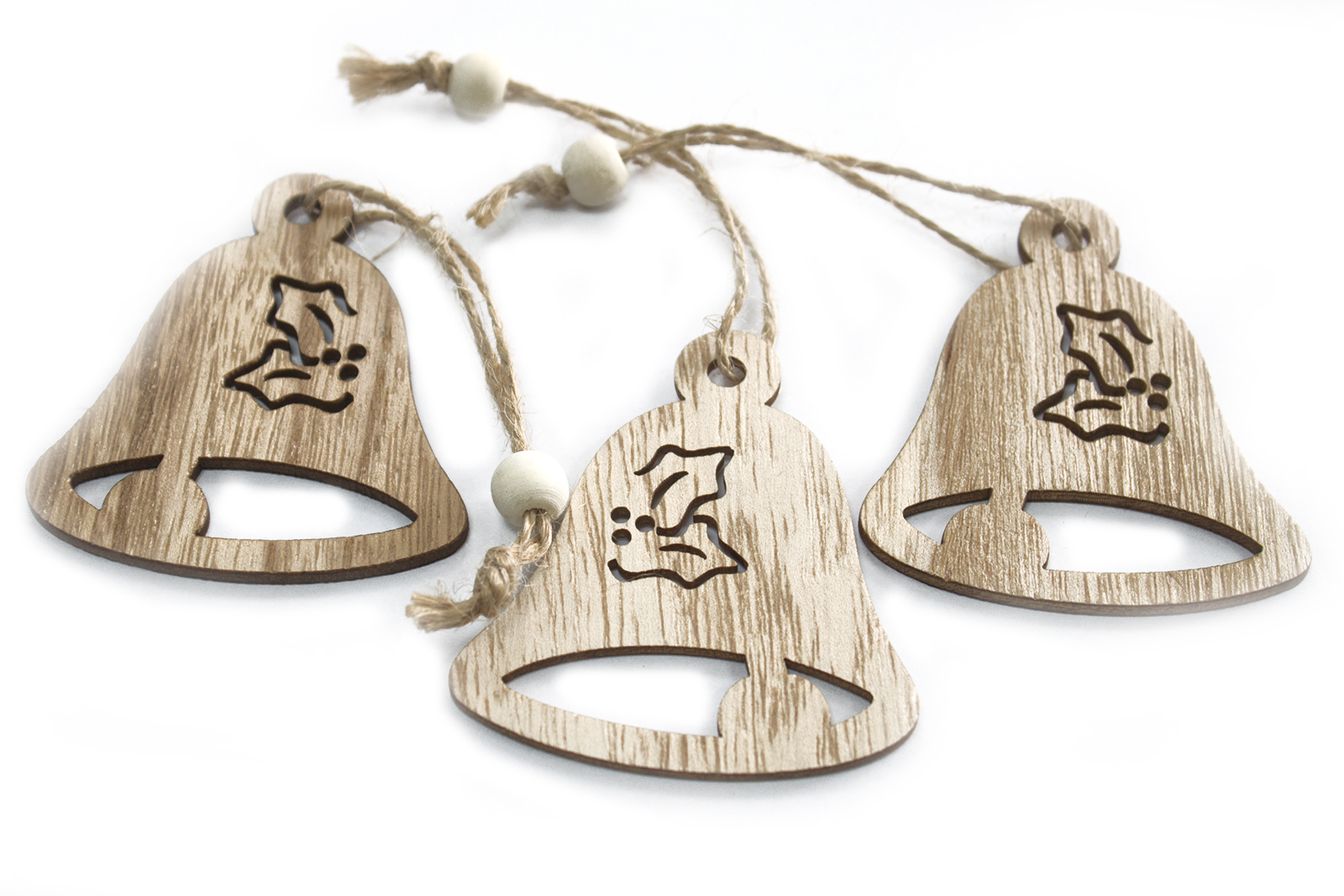 Pack of 3 Christmas Wooden Craft Decorations - Bell