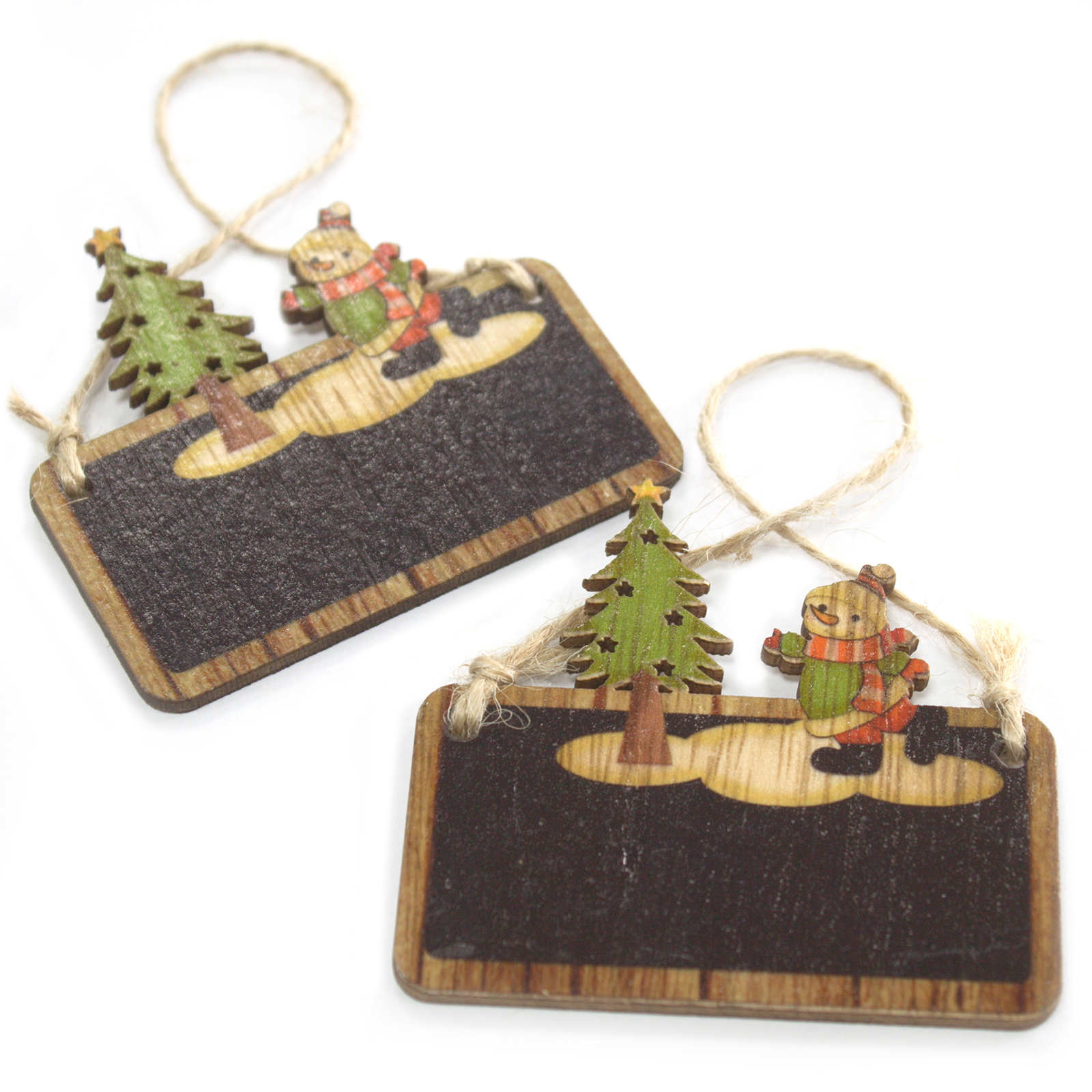 Pack of 2 Christmas Wooden Craft Decorations - Snowman & Tree
