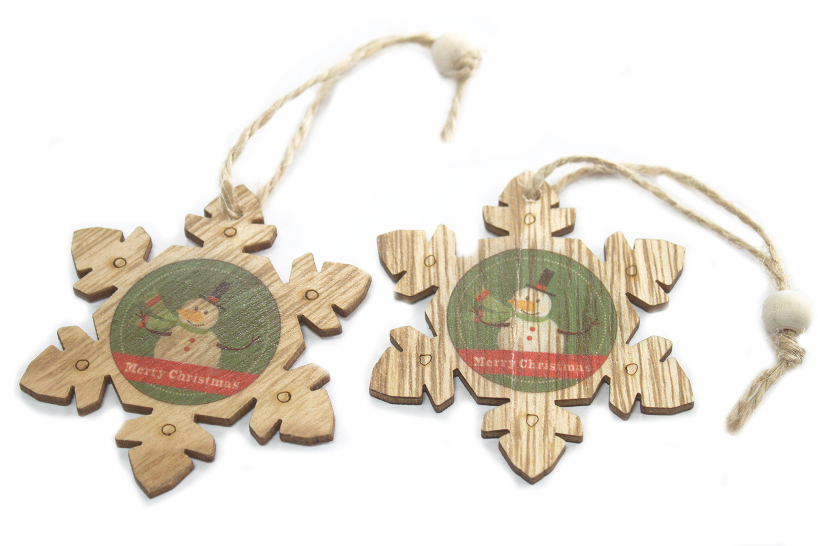 Pack of 2 Christmas Wooden Craft Decorations - Snowflake & Snowman