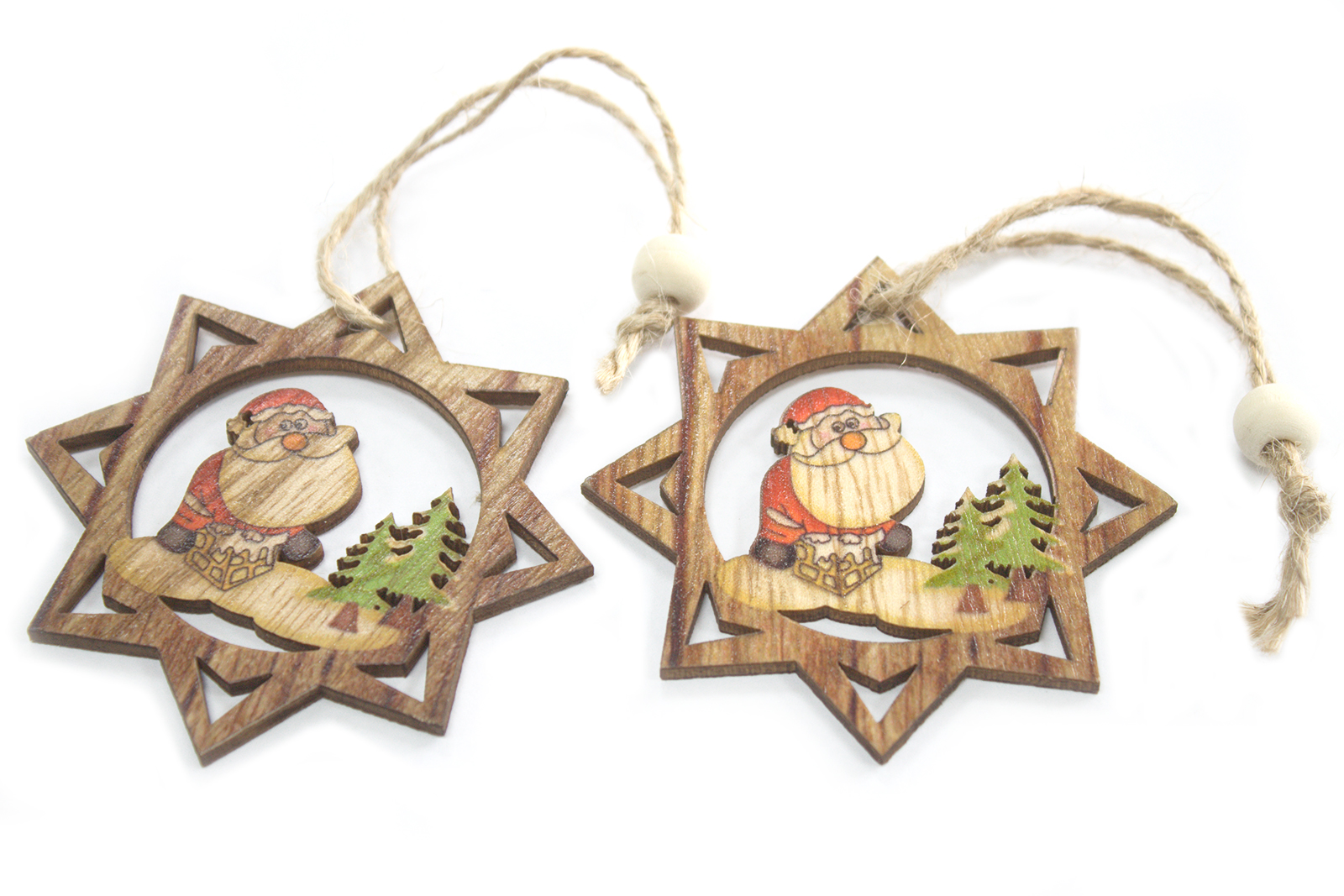 Pack of 2 Christmas Wooden Craft Decorations - Santa Star
