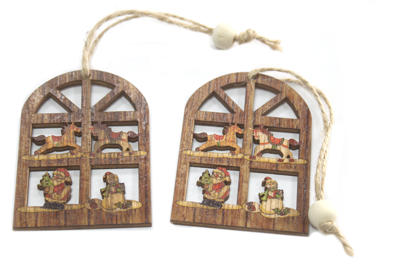 Pack of 2 Christmas Wooden Craft Decorations - Joy Window
