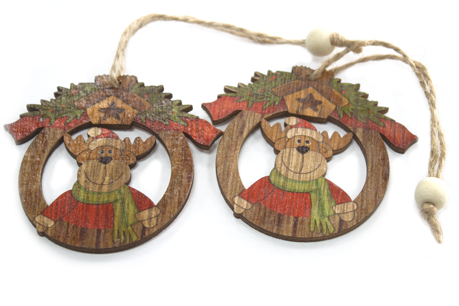 Pack of 2 Christmas Wooden Craft Decorations - Rudolf
