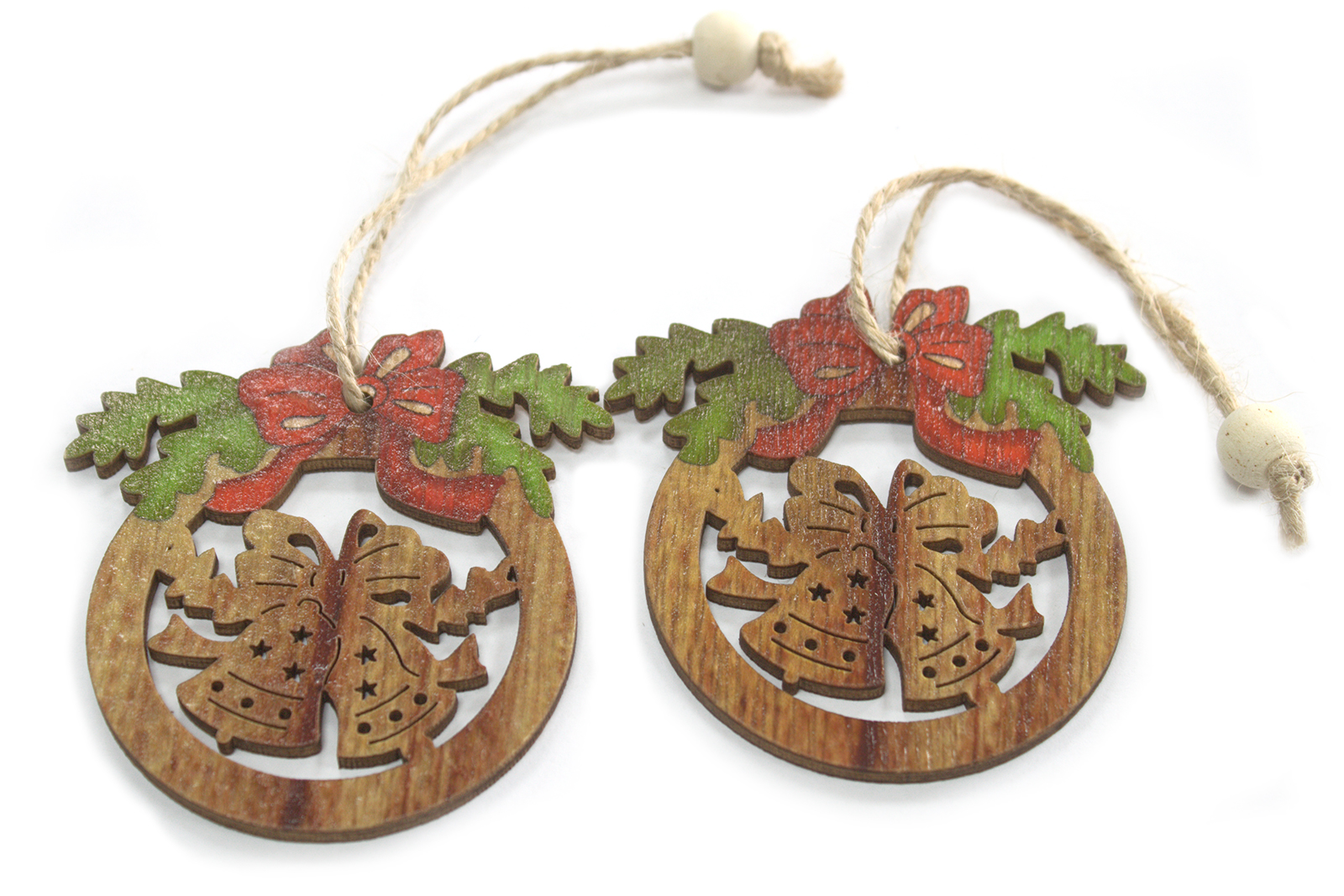 Pack of 2 Christmas Wooden Craft Decorations - Bells & Bow