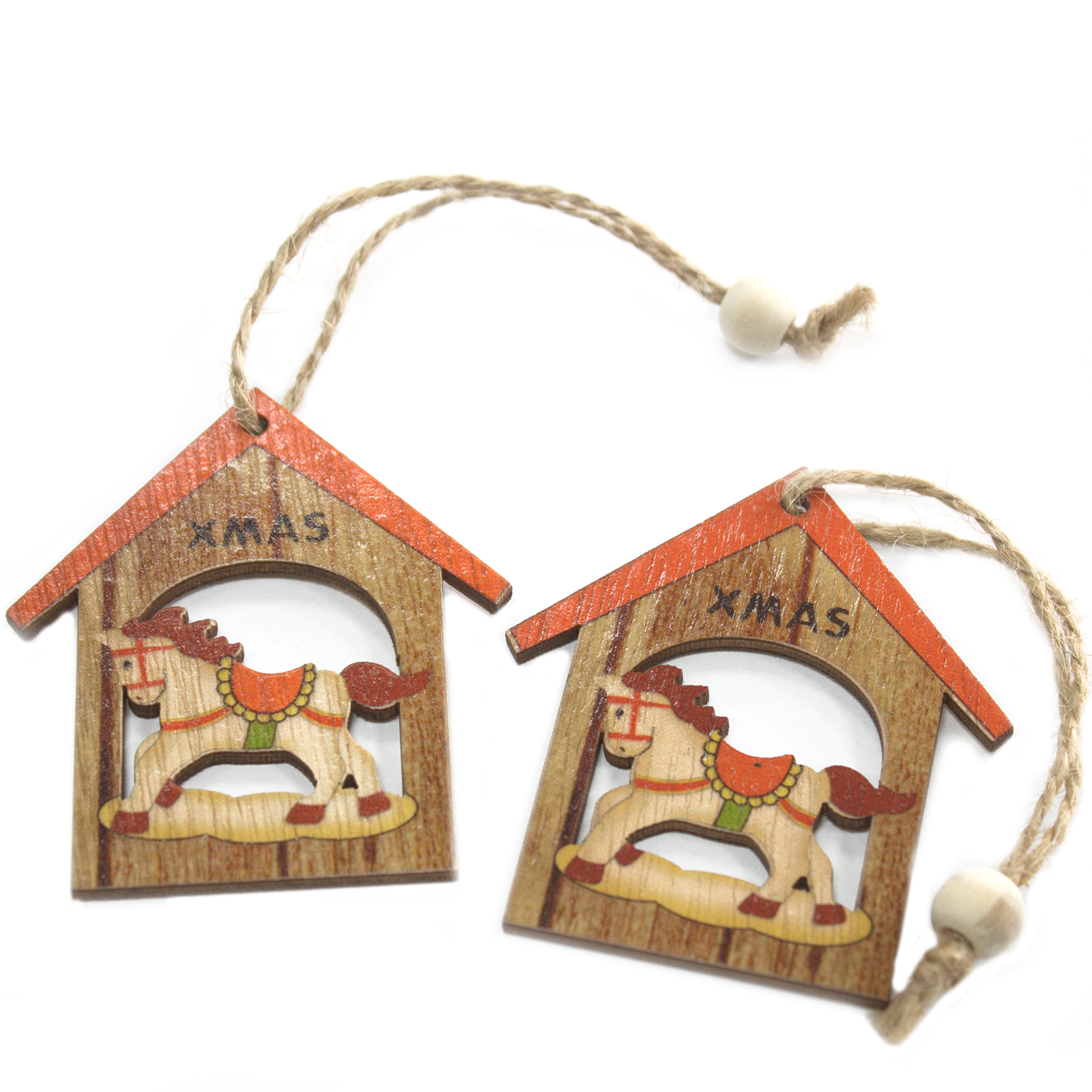 Pack of 2 Christmas Wooden Craft Decorations - Christmas Rocking Horse