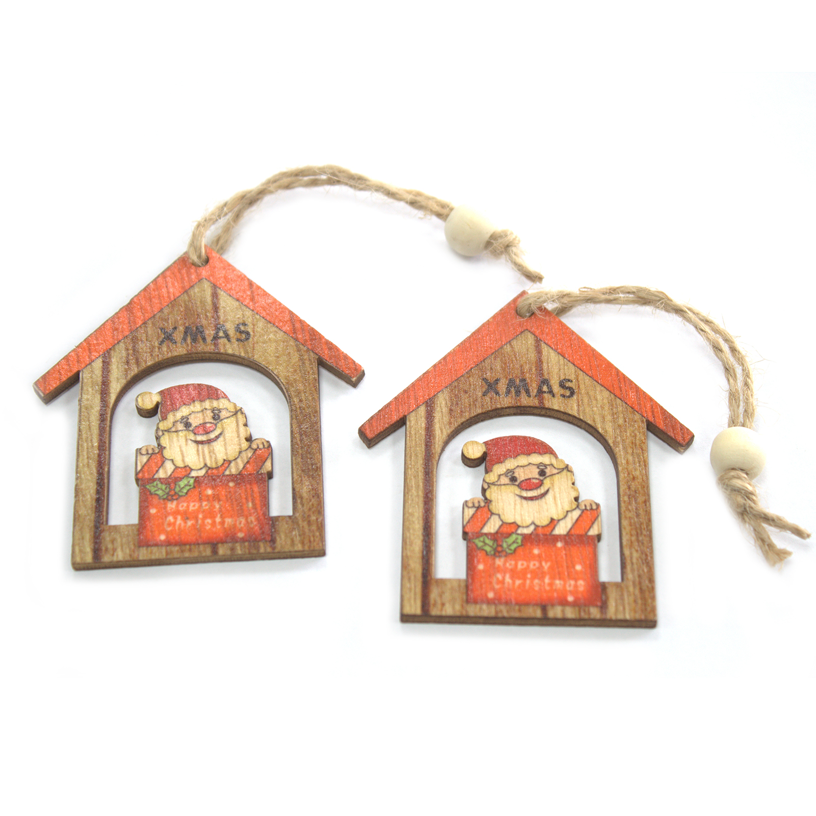 Pack of 2 Christmas Wooden Craft Decorations - Christmas Santa Gift